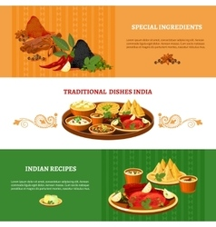 Indian Cuisine 3 Flat Banners Set vector