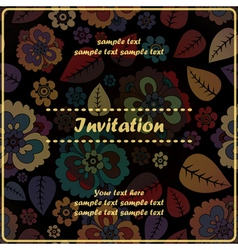 invitation card with flower vector image