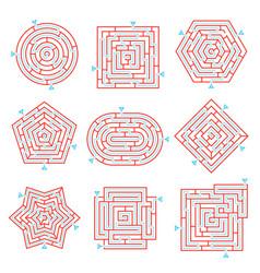 Labyrinth brain games set vector