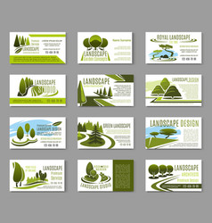 Landscape design studio business card template vector