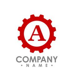letter a gear logo concept- logo concept vector image