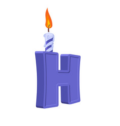 Letter h birthday font letter and candle vector