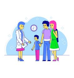 line doctor pediatrician vector image