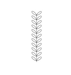 Line rustic branch with leaves design vector
