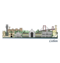 Lisbon skyline colored vector