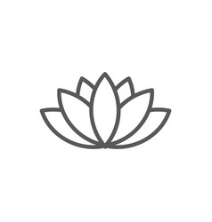 lotus line icon on white background vector image
