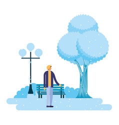 man standing in the park winter scenery vector image