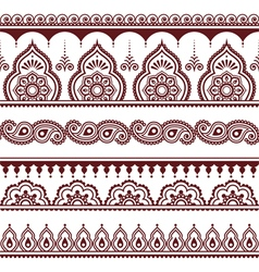 Mehndi Indian Henna tattoo brown seamless pattern vector image