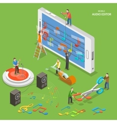 Mobile audio editor flat isometric concept vector image