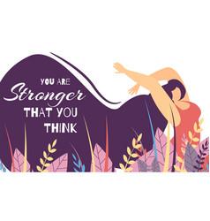 Motivational lettering banner woman power strength vector