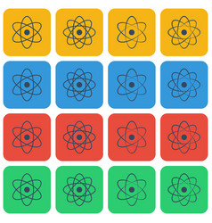 Multicolored atom icon set vector