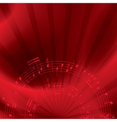 music background with notes - red vector image