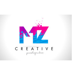 Mz m z letter logo with shattered broken blue vector