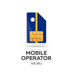 Nauru mobile operator sim card with flag vector