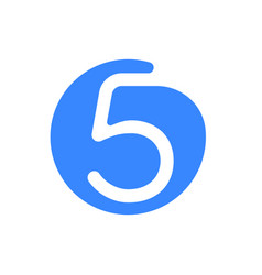 Number 5 five font logo blue icon vector