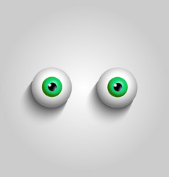 Pair of green eyeballs isolated on white vector