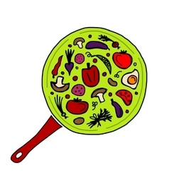 Pan with vegetables for your design vector