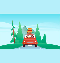 people driving car vacation in nature landscape vector image