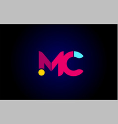 Pink blue alphabet letter mc m c combination for vector