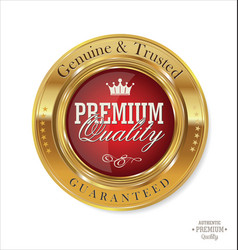 Premium quality red and gold button vector