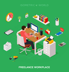 professional freelancer working on desktop vector image