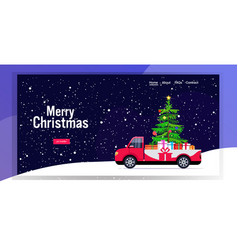 Red pickup car with fir tree and gift present vector