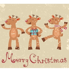 Reindeers Christmas card vector