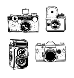 Retro photo camera set doodle vector