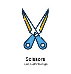 Scissors line color icon vector