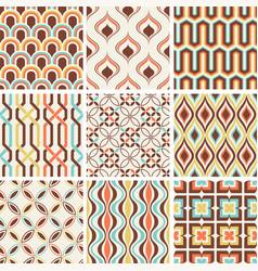 seamless nostalgic retro geometric pattern vector image