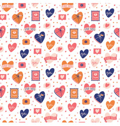 seamless pattern with big collection love vector image