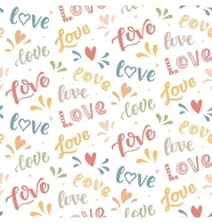Seamless pattern with hand drawn Love lettering vector image