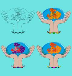 Set hands fish vector