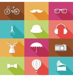 set hipster objects vector image