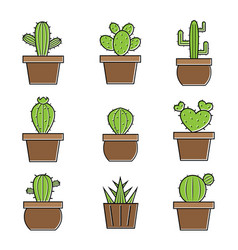 set of cactus icons on white background easy vector image