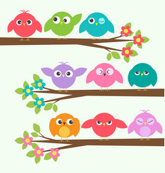 set of cute birds with different emotions on vector image