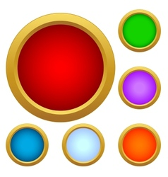 Set of multicolored glass buttons vector image