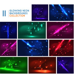 set shooting stars templates neon color outer vector image