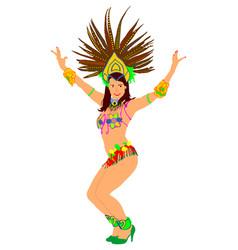 smiling brazil carnival dancer rio de janeiro vector image