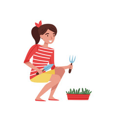 smiling teenager girl with small shovel and rake vector image