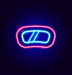 snowboard mask neon sign vector image