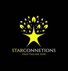 Star connection logo template design vector