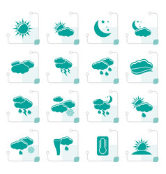 stylized weather and meteorology icons vector image