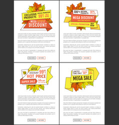 Super sale promo posters with maple and oak leaves vector