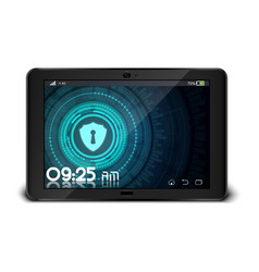 Tablet pc with security concept on screen vector