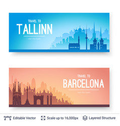 Tallinn and barcelona famous city scapes vector