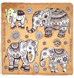 Vintage elephant vector image vector image