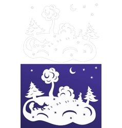 Winter paper cut Snow-covered trees Hare and fox vector