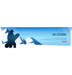 winter sport ski lessons horizontal banner vector image