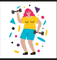 with pink hair young woman dumbbells and abstract vector image